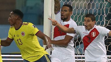 Colombia conceded late on to lose to Peru
