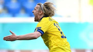 Emil Forsberg celebrates after scoring the winner for Sweden against Slovakia