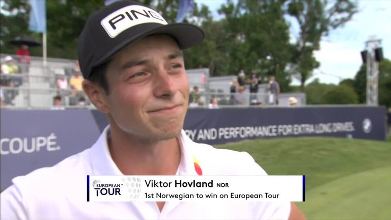 Viktor Hovland becomes the first Norwegian to win on the European Tour and savoured the achievement after the BMW International Open in Munich.