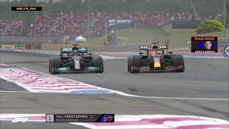 With less than two laps to go, Red Bull's Max Verstappen passed Mercedes title rival Lewis Hamilton for the race lead