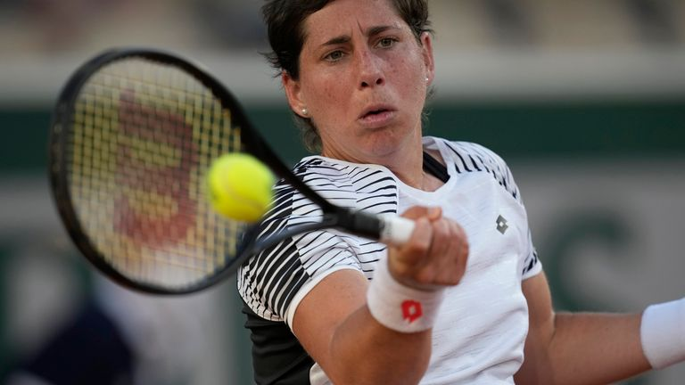 Suarez Navarro was unable to pull off a fairytale comeback against Sloane Stephens