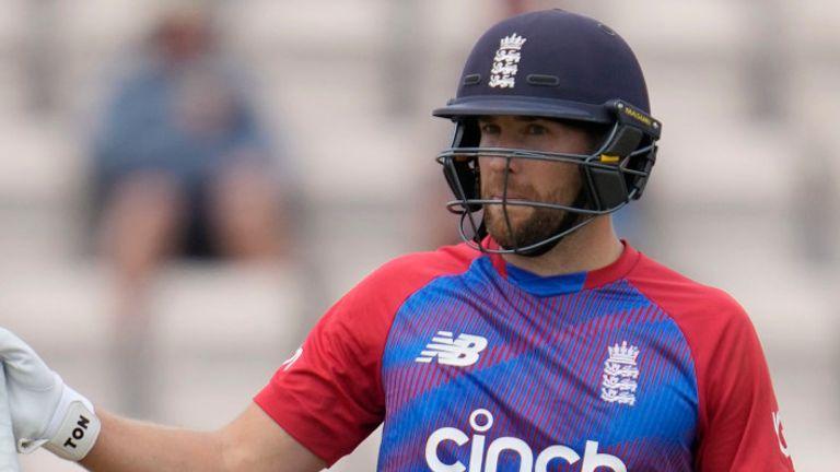 England's Dawid Malan raises his bat after passing 50 during the third T20I against Sri Lanka