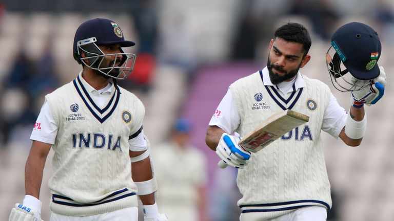 India pair Ajinkya Rahane (L) and Kohli had to go off for bad light three times during the second day of the World Test Championship final against New Zealand