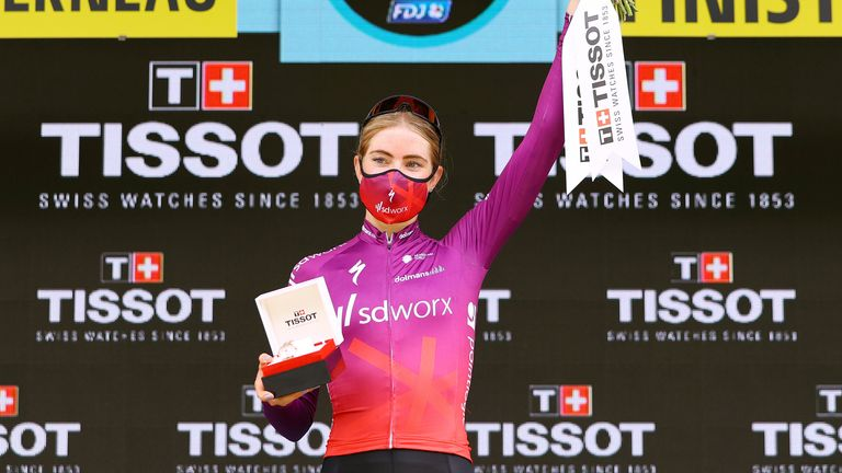 Demi Vollering of the Netherlands and Team SD Worx celebrate their eighth La Course By Le Tour De France 2021 win