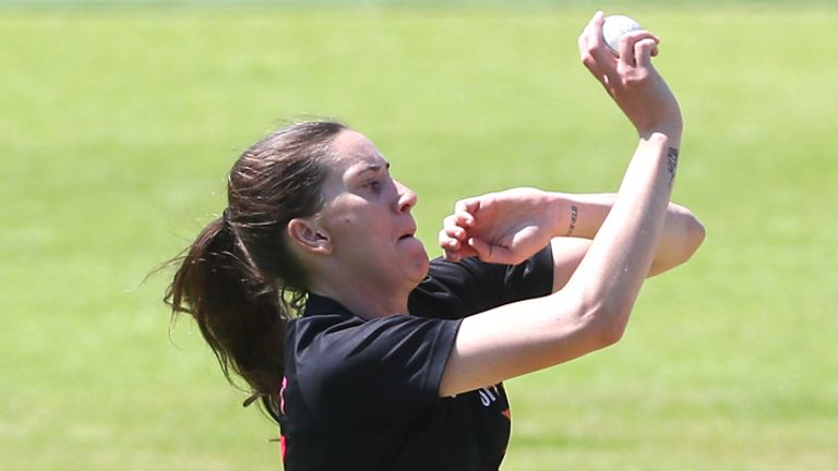 Seamer Emily Arlott in action for Central Sparks in the Rachael Heyhoe Flint Trophy (Picture by Laura Malkin)