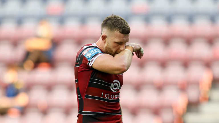 Jackson Hastings of Wigan Warriors looks dejected during the game