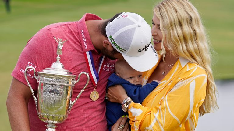 Jon Rahm celebrated his maiden major victory with a one-shot win at the US Open