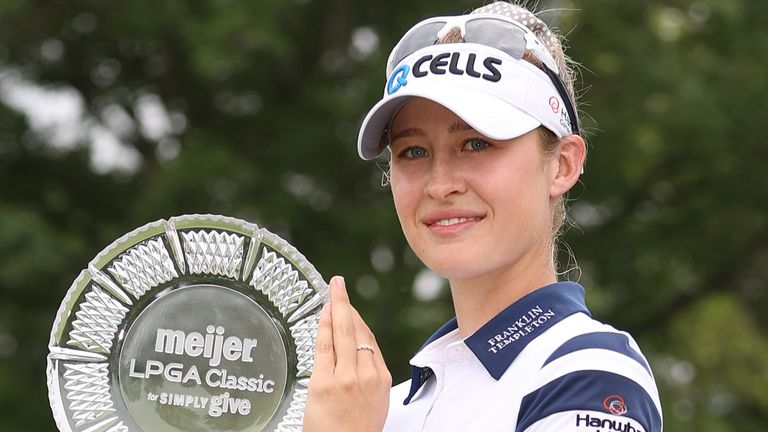 Nelly Korda claimed a two-shot victory at the Meijer LPGA Classic
