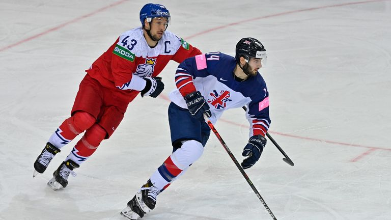 Kirk (right) in action against the Czech Republic at the 2021 World Championships