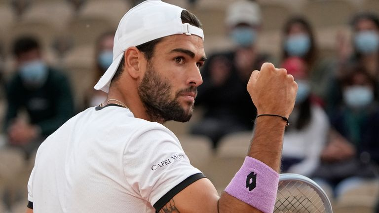 Matteo Berrettini joined 19-year-old Italians Jannik Sinner and Lorenzo Musetti in the fourth round of the French Open