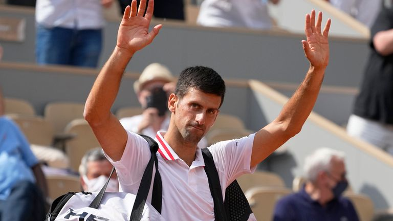 Novak Djokovic moves into the French Open quarter-finals after the retirement of his Italian opponent