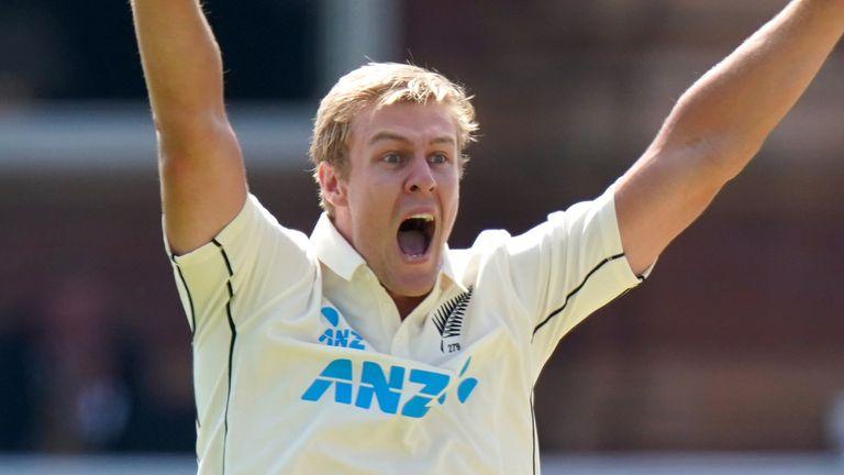 Kyle Jamieson en plein appel pour la Nouvelle-Zélande lors du premier Test contre l'Angleterre à Lord's