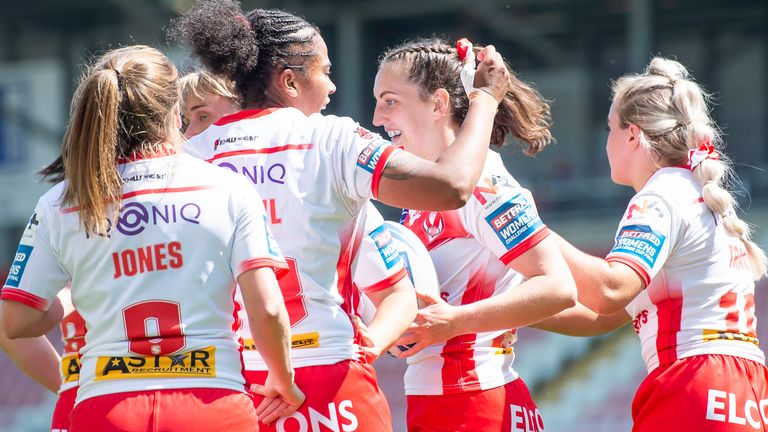 St Helens' Rachel Woosey is congratulated on scoring a try against York