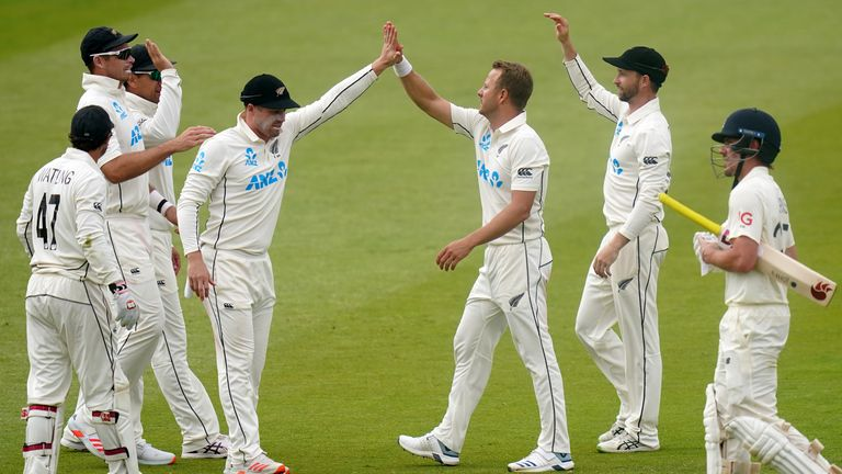 New Zealand took two England wickets after captain Kane Williamson had declared at lunch on day five