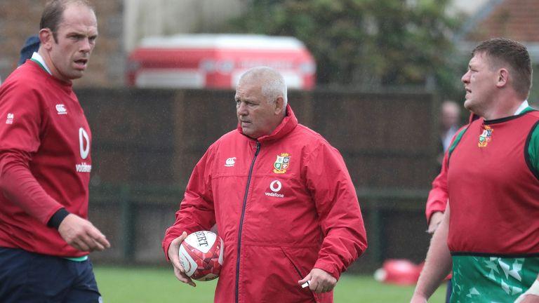 Furlong in Lions training with head coach Warren Gatland and captain Alun Wyn Jones