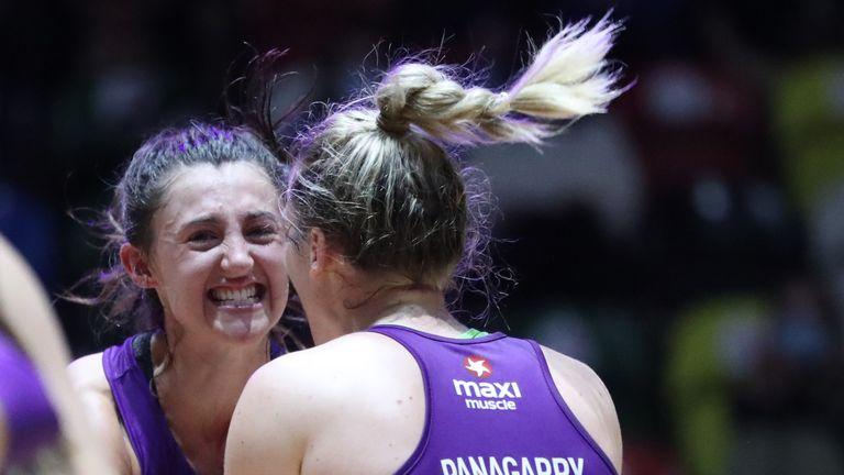 Loughborough Lightning's Beth Cobden and Nat Panagarry celebrating on court (Image credit - Morgan Harlow)