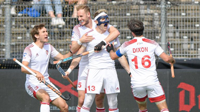 Sam Ward (13) of England celebrates after scoring his team's first goal during the Euro Hockey Championships Men's match against Belgium. (Getty)