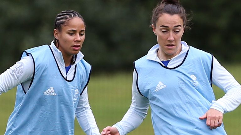 Team GB's Lucy Bronze (right) and Demi Stokes during a training session at Loughborough University