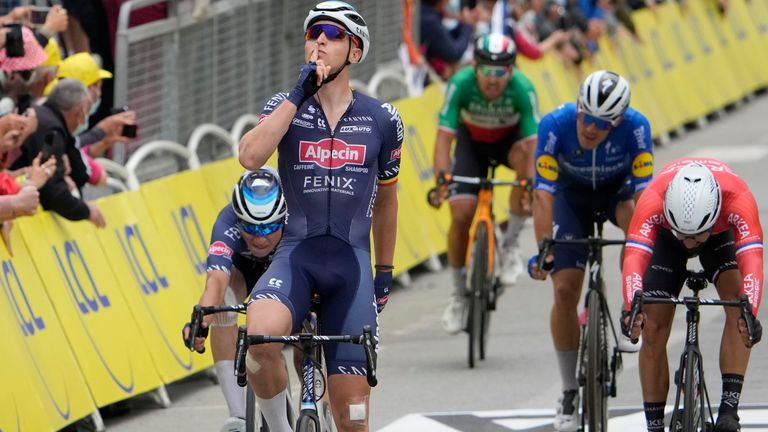 Tim Merlier celebrates his first Tour de France stage win
