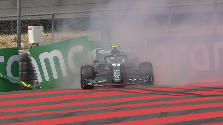 Aston Martin's Sebastian Vettel spins and hits the barriers in reverse during Practice 1 ahead of the French Grand Prix.