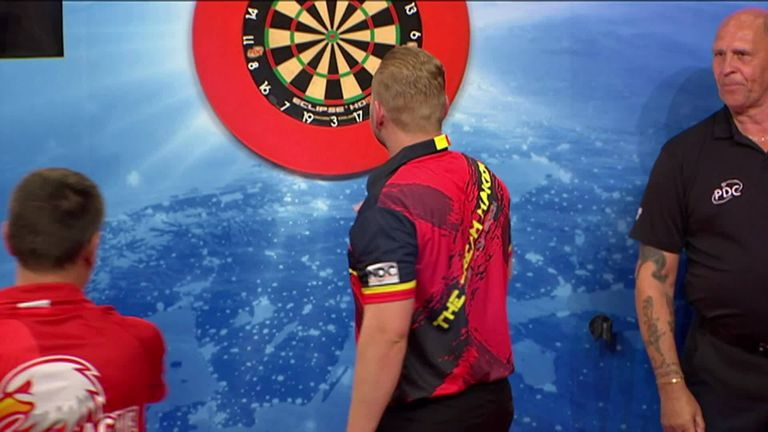 The reigning World Matchplay champion Dimitri Van den Bergh is through to the final!