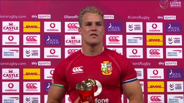 Duhan van der Merwe was in impressive form as he ran in three tries for the British & Irish Lions in their 54-7 win over the Cell C Sharks at Ellis Park