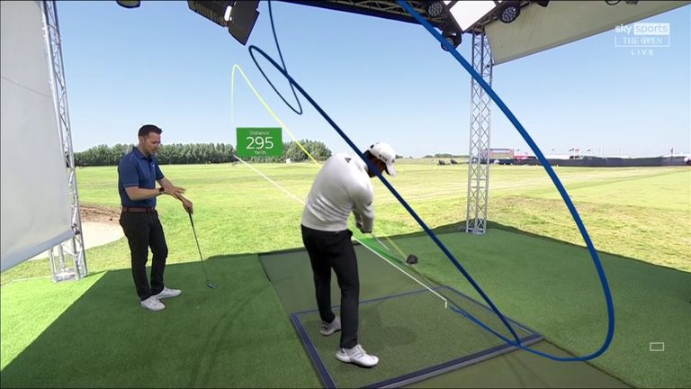 Nick Dougherty uses Sky Scope technology in The Open Zone to examine the swing of new Champion Golfer of the Year Collin Morikawa