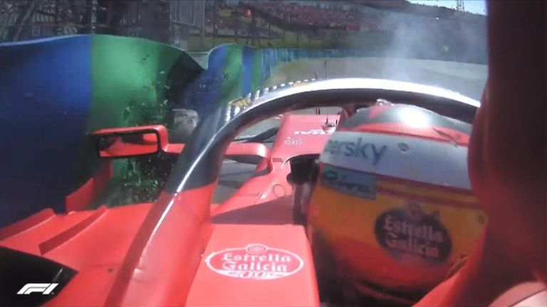 Carlos Sainz crashes out in Q2 after sliding into the barriers approaching the final corner!
