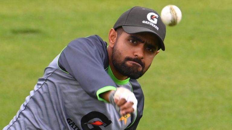 Pakistan captain Babar Azam during fielding practice at Sophia Gardens on Wednesday