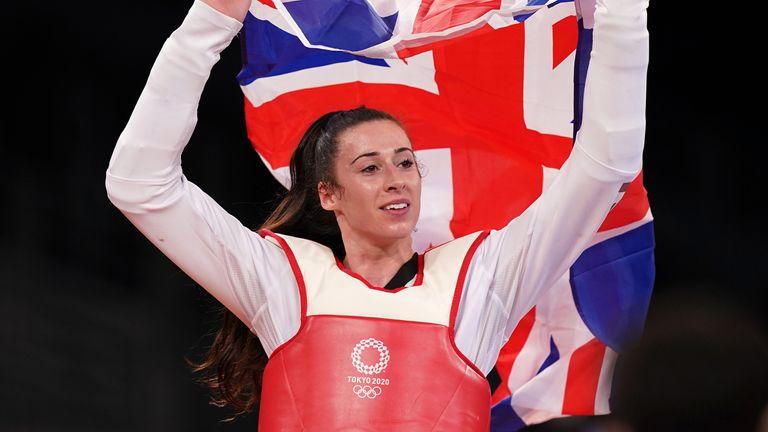 Great Britain's Bianca Walkden celebrates after defeating Poland's Aleksandra Kowalczuk to claim a bronze medal