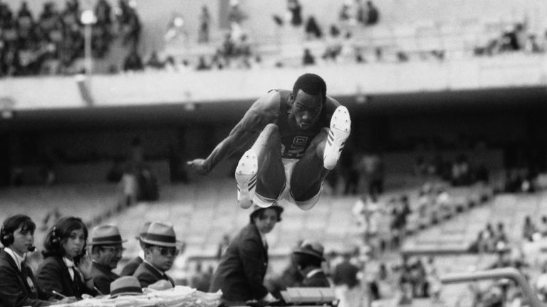 Beamon about to set a new world and Olympic record of 29 ft. and 2.5 inches in 1968