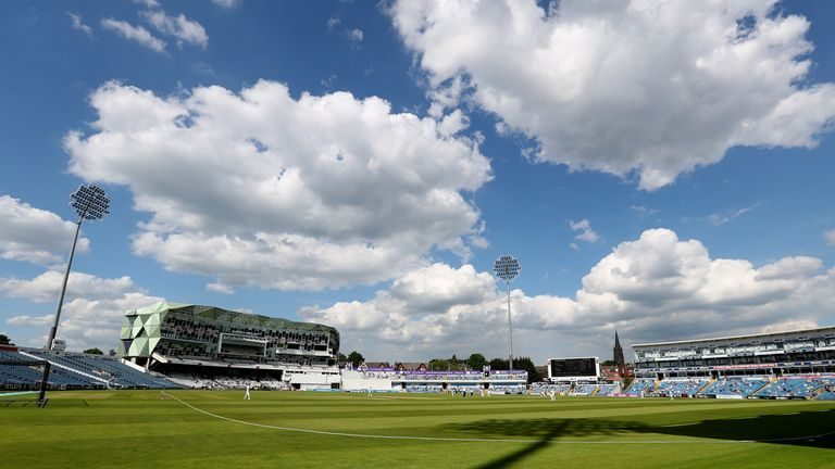 Play was suspended between Yorkshire and Lancashire at Emerald Headingley after Dom Leech suffered a leg injury trying to save a boundary