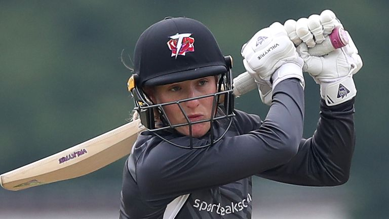 Thunder's Emma Lamb scored the first hundred in the Charlotte Edwards Cup with a 54-ball century against Sunrisers at Emirates Old Trafford