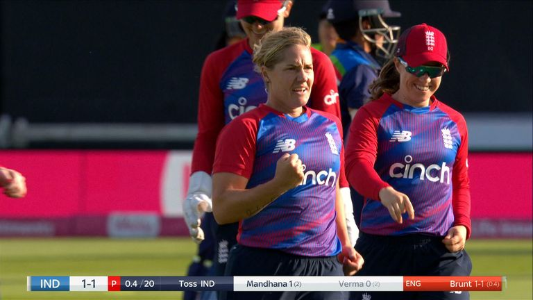 Katherine Brunt bowls Shafali Verma goes for a duck in the third T20I and then gives her a bit of a send off