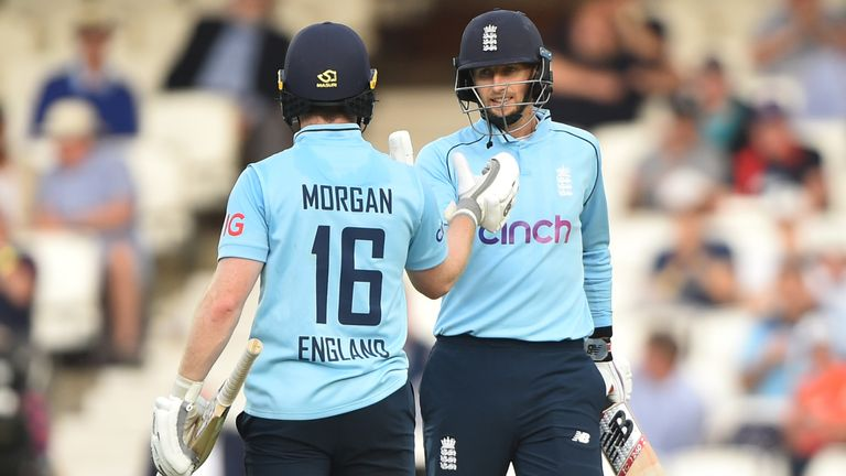 Joe Root and captain Eoin Morgan shared an unbroken century stand for England in south London after joining forces at 104-2