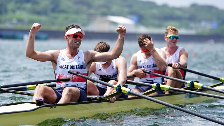 Great Britain's Harry Leask, Angus Groom, Tom Barras and Jack Beaumont celebrate winning silver in the men's quadruple Sculls