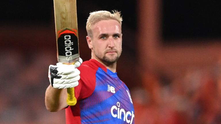 Liam Livingstone scored England's quickest-ever century, from 42 balls, in the first IT20 against Pakistan (Getty)