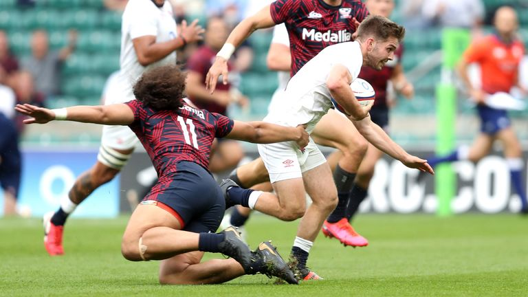 England's Harry Randall breaks free to score his side's seventh try in the weekend win over USA