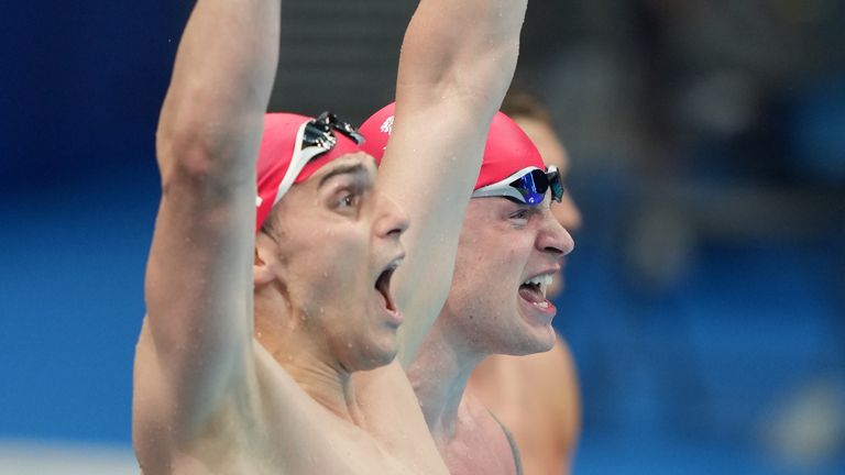James Guy and Adam Peaty celebrate another swimming gold medal for Britain
