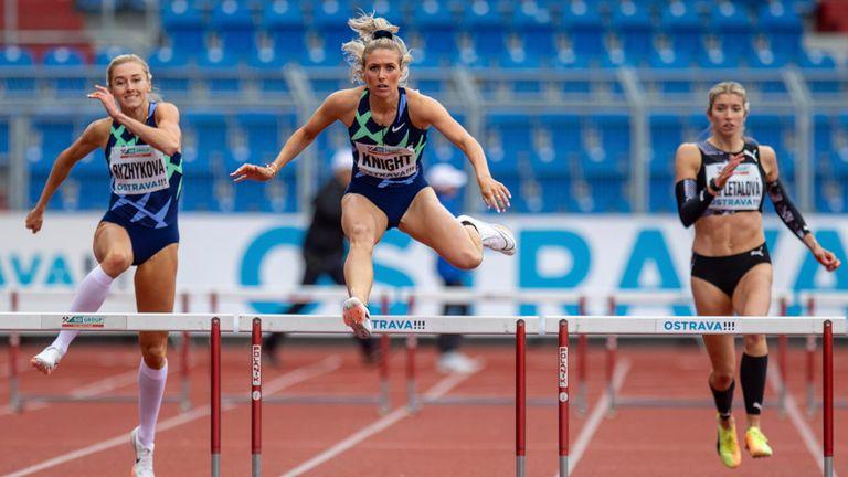 Jessie Knight (centre) won the women's 400 m steeplechase race in Czech Republic in May