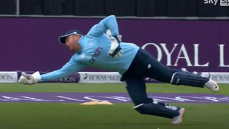 Jonny Bairstow leapt full length to his right to catch Chamika Karunaratne off the bowling off Tom Curran