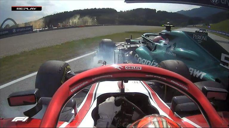 The Alfa Romeo of Kimi Raikkonen and Aston Martin of Sebastian Vettel collided on the final lap of the Austrian Grand Prix