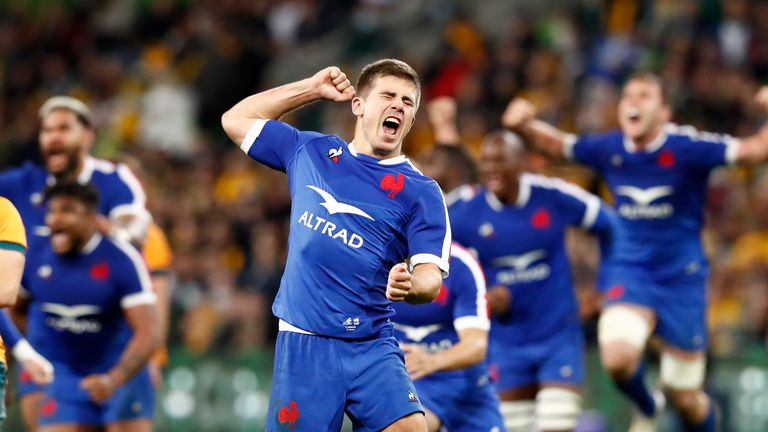 Louis Carbonel celebrates France's win over the Wallabies in Melbourne
