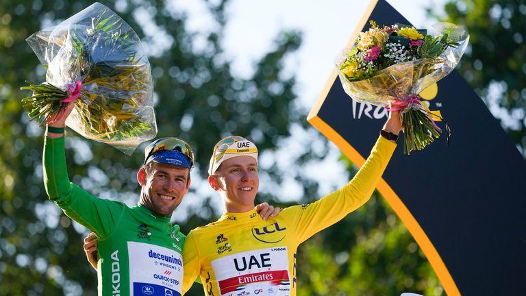 Cavendish (left) pictured with 2021 Tour de France winner Tadej Pogacar of Slovenia