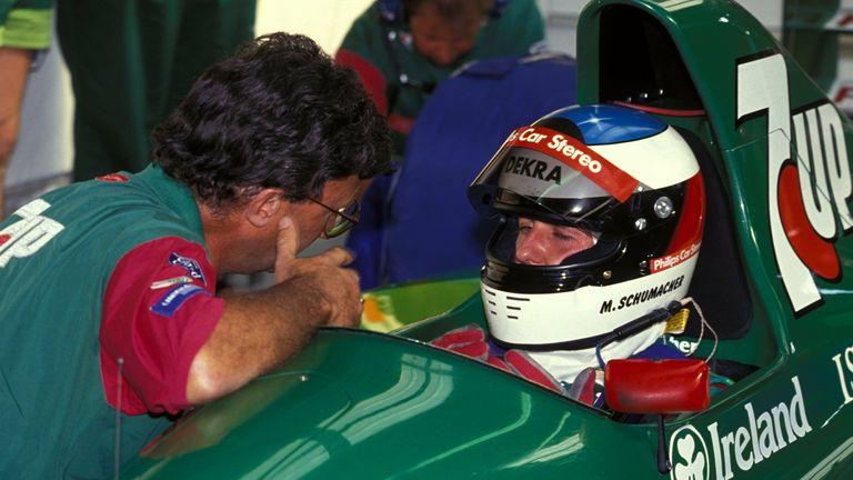 Spa 1991: Michael Schumacher in conversation with team owner Eddie Jordan