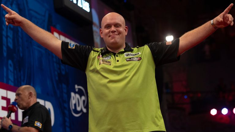 Van Gerwen showed flashes of his old self during the semi-finals, only to find himself up against an inspired Wright (Image: Lawrence Lustig/PDC)