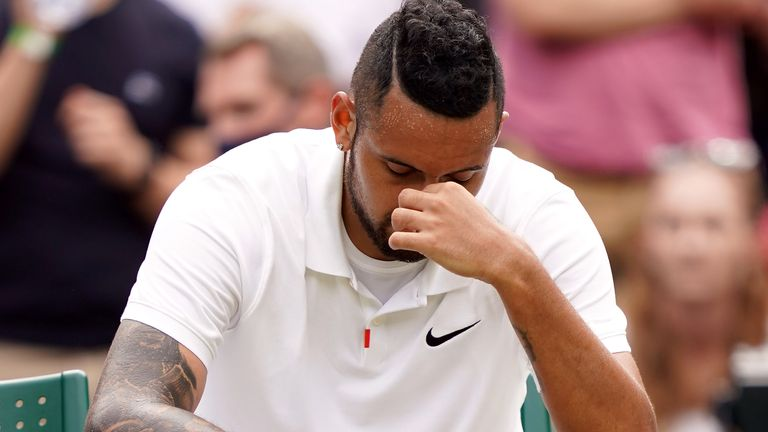 Nick Kyrgios retired from his match with Felix Auger-Aliassime due to abdominal injury
