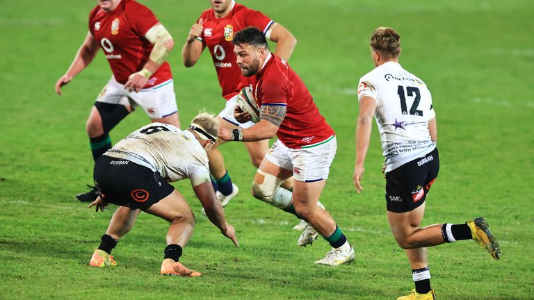 Rory Sutherland on the charge for the Lions