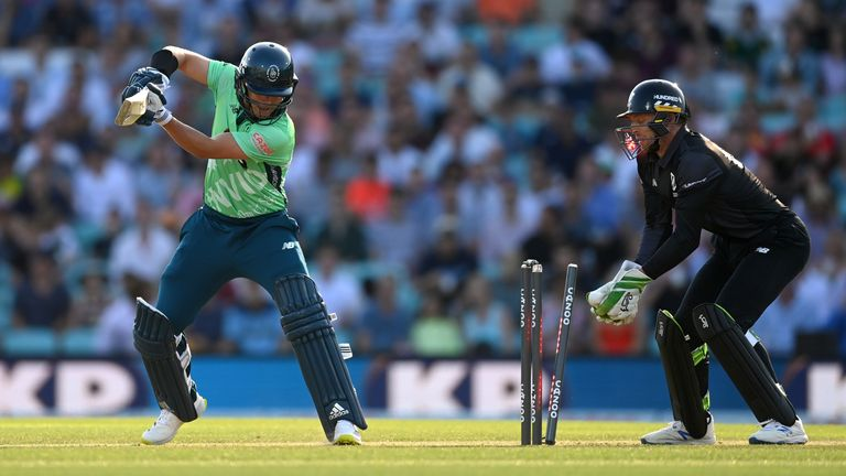 Sam Curran was bowled by Tom Hartley a ball after striking a six