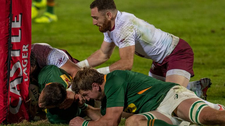 South Africa and Georgia players clash during their first Test last weekend
